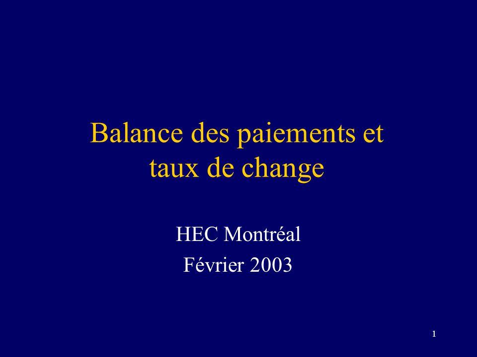 Balance des paiements et taux de change