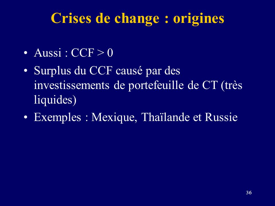 Crises de change : origines