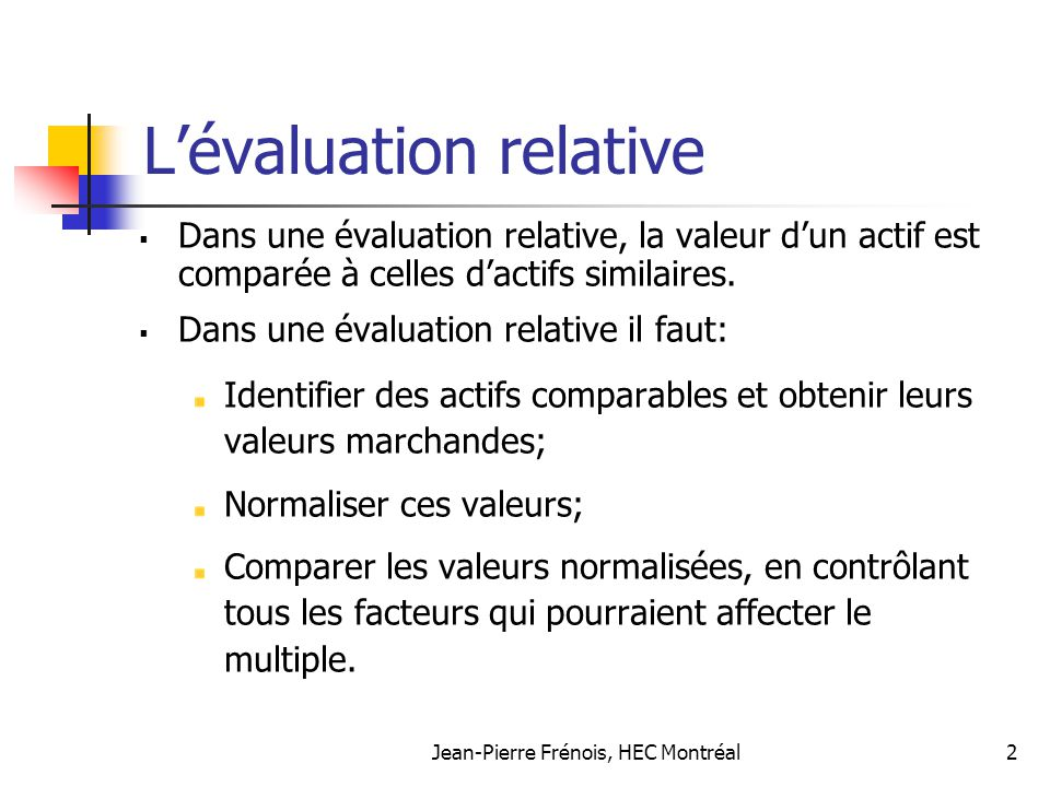 L'évaluation relative