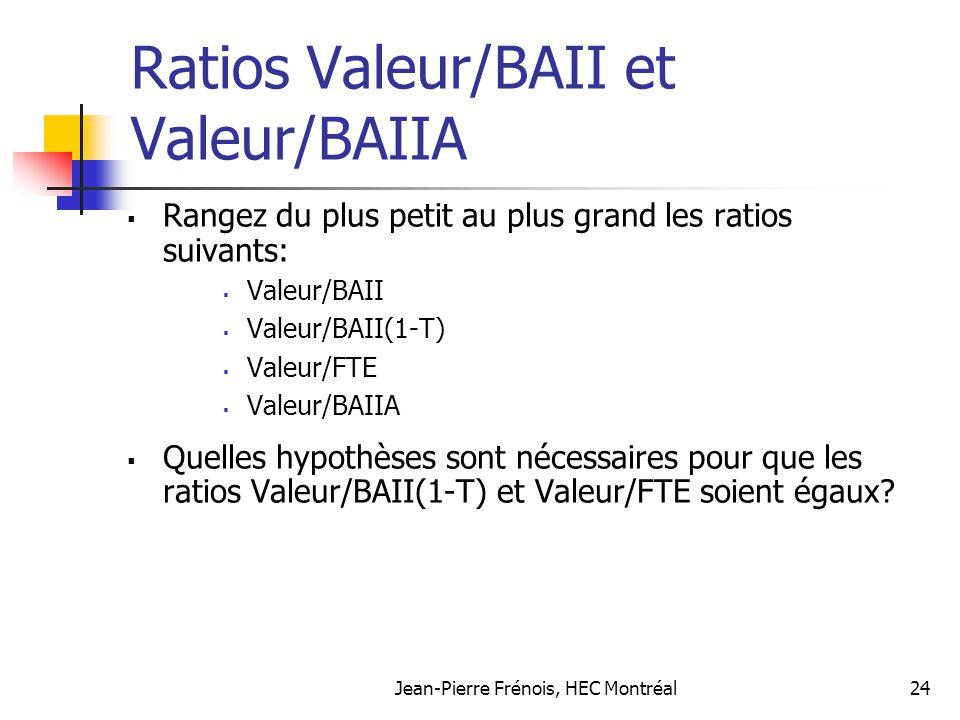 Ratios Valeur/BAII et Valeur/BAIIA