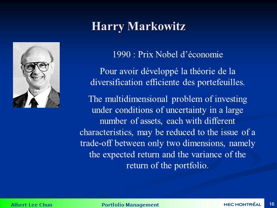 Frontière efficiente de Markowitz
