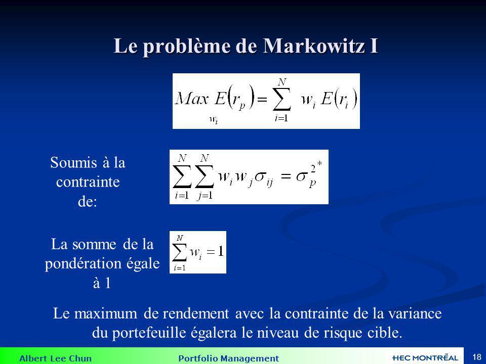 Le problème de Markowitz II