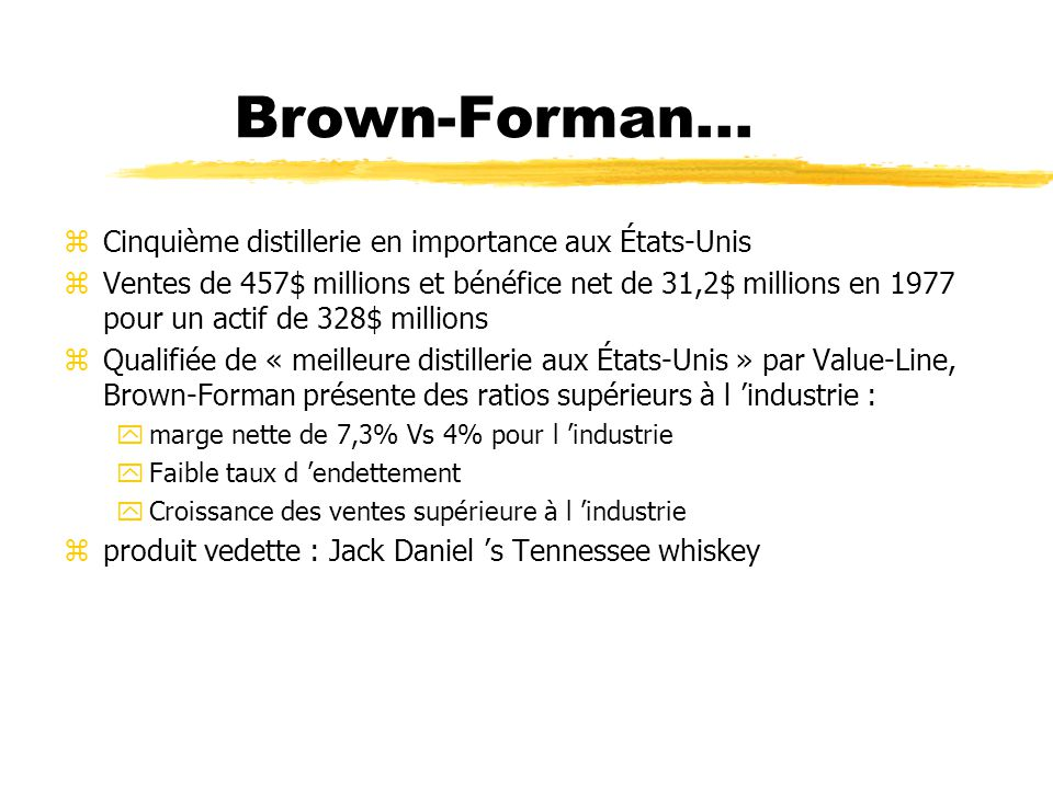 Brown-Forman... Cinquième distillerie en importance aux États-Unis