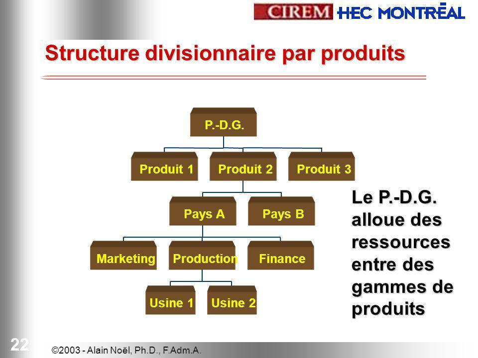 Structure divisionnaire par produits