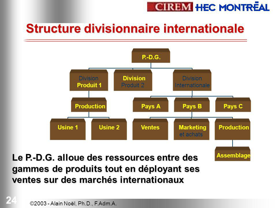 Structure divisionnaire internationale