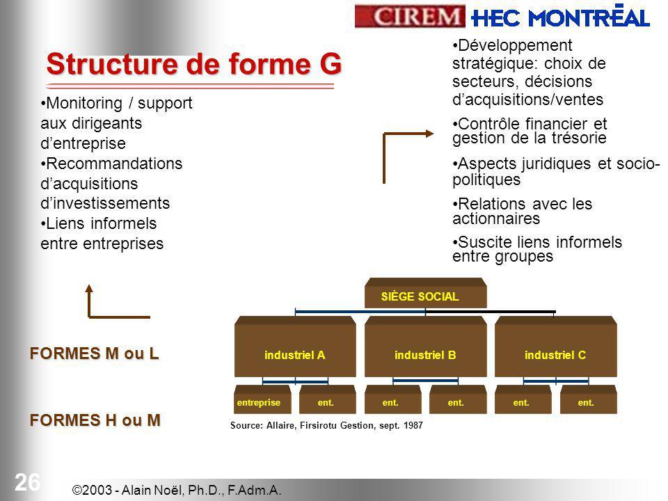 Structure de forme G Développement stratégique: choix de secteurs, décisions d'acquisitions/ventes.