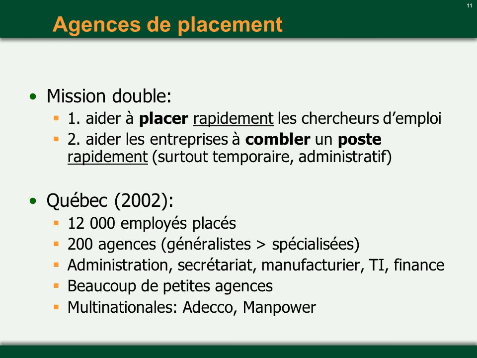 Agences de placement Mission double: Québec (2002):