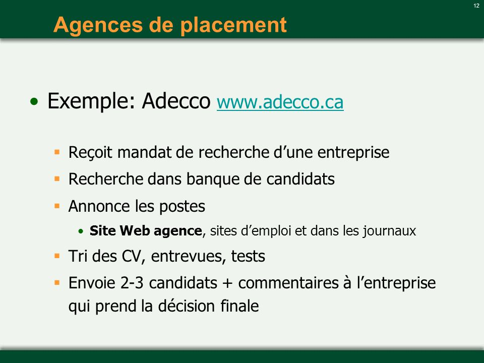 Exemple: Adecco www.adecco.ca
