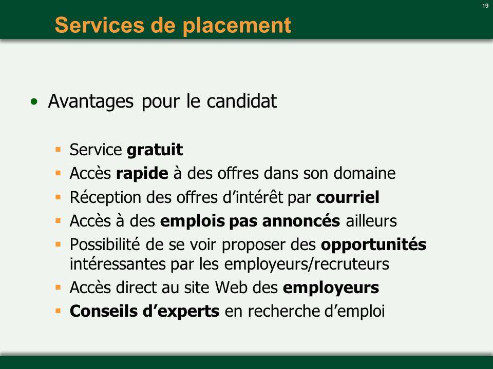 Services de placement Avantages pour le candidat Service gratuit