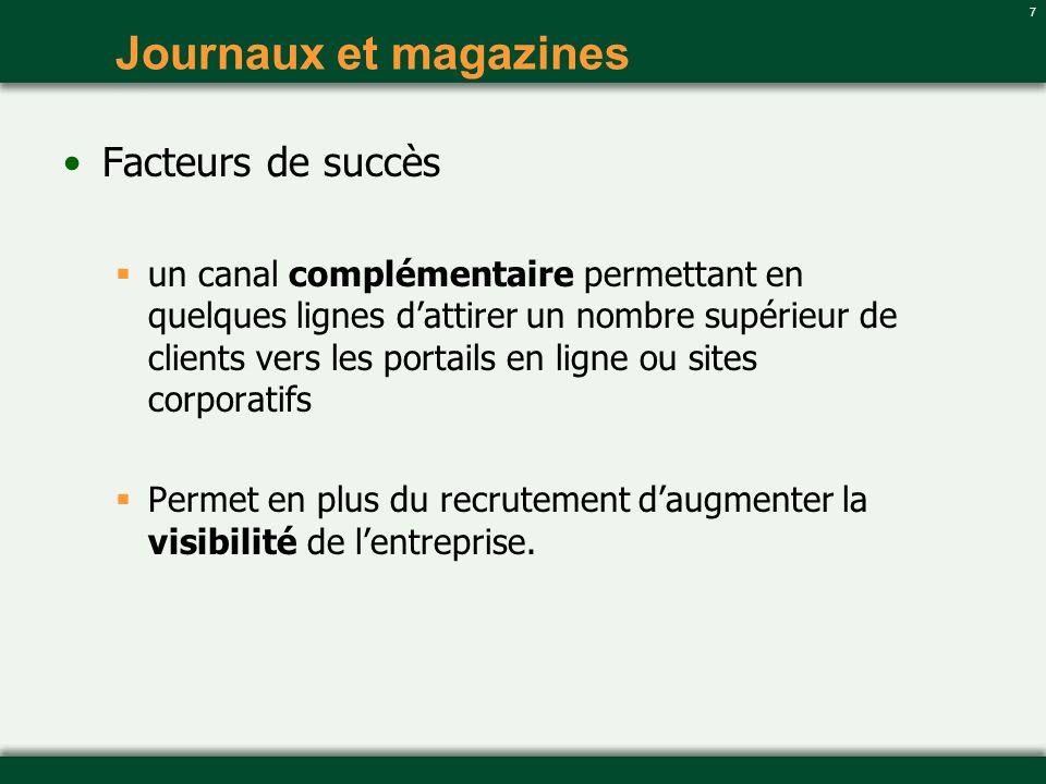 Journaux et magazines Facteurs de succès