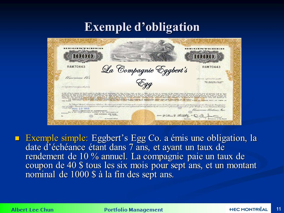 Exemple : trouver la valeur d'une obligation