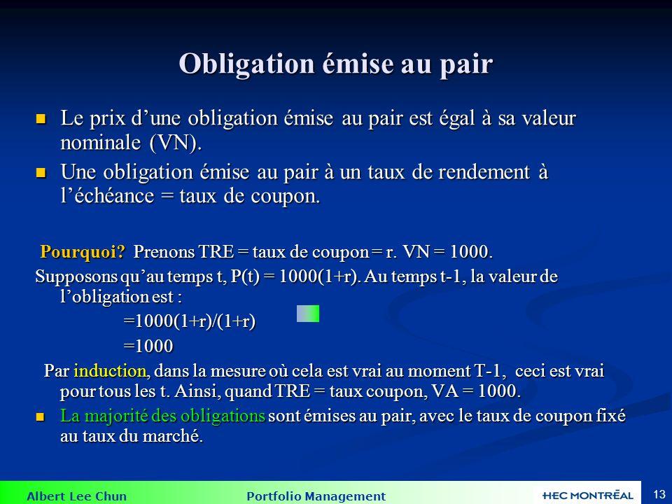 Exemple : trouver la valeur d'une obligation au pair
