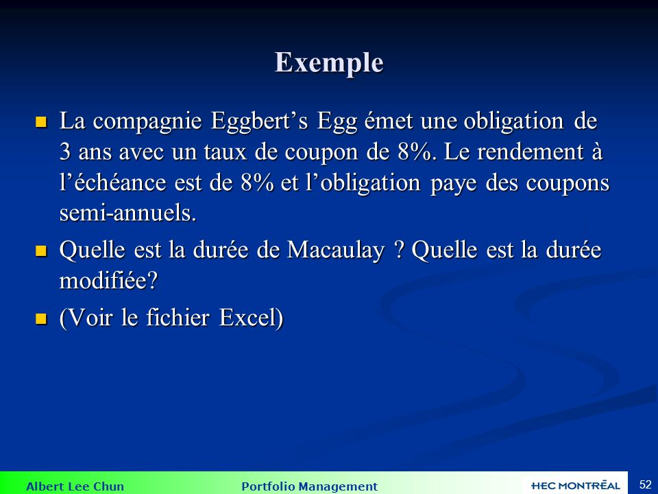 Exemple D = 2.5726 and Dm = 2.621 Année Paiement VA Poids Année*Poids