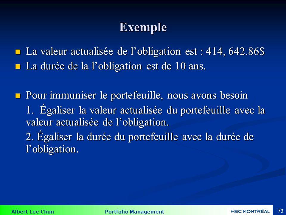 Exemple La valeur totale investie dans l'obligation 1 et 2 doit être égale à VA de l'obligation. V1 + V2 = VA = 414, 642.86$