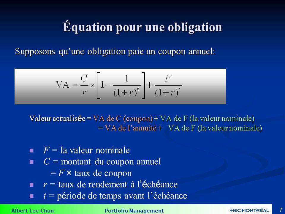 Équation pour une obligation