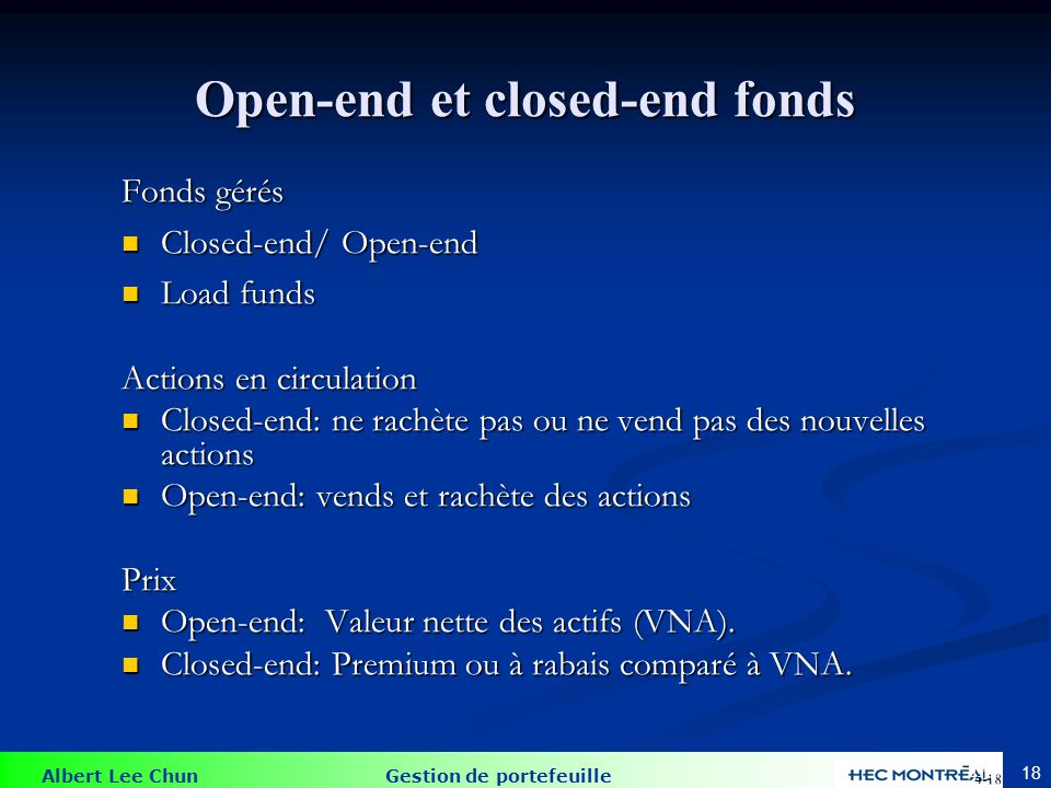 Closed-end fonds