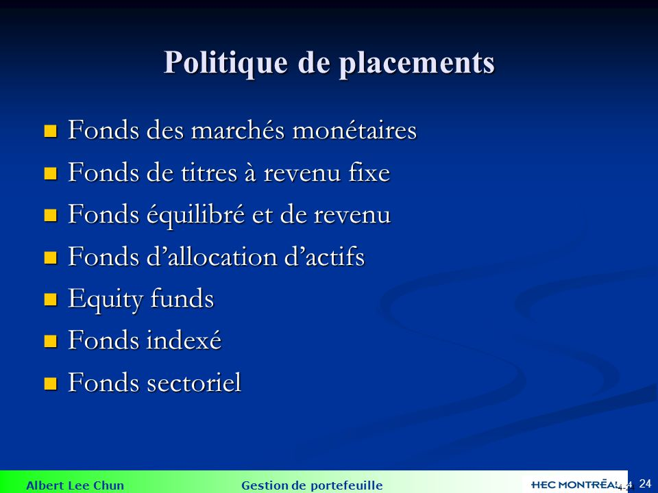 Politique de placements