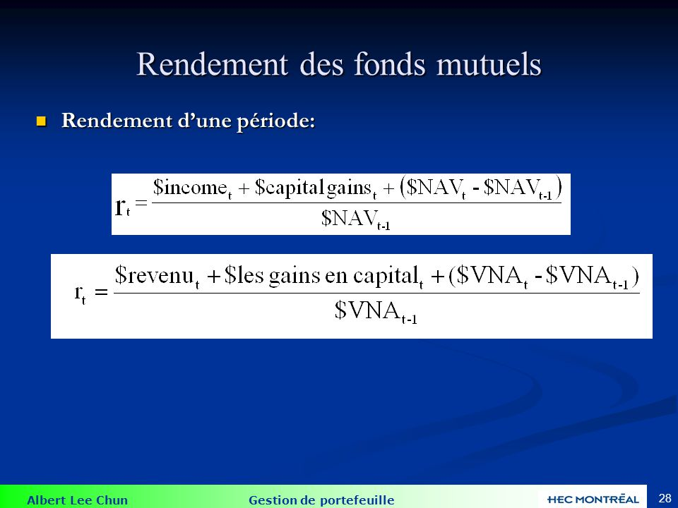 Exemple de rendement Investissement de $1000 dans un fonds