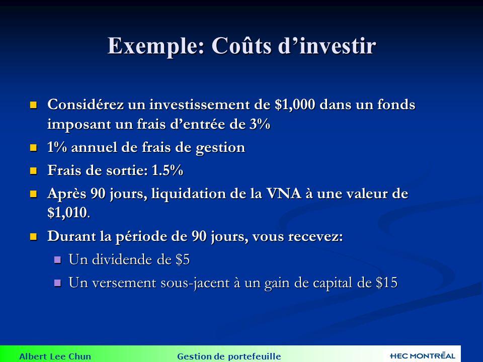Exemple: Coûts d'investir