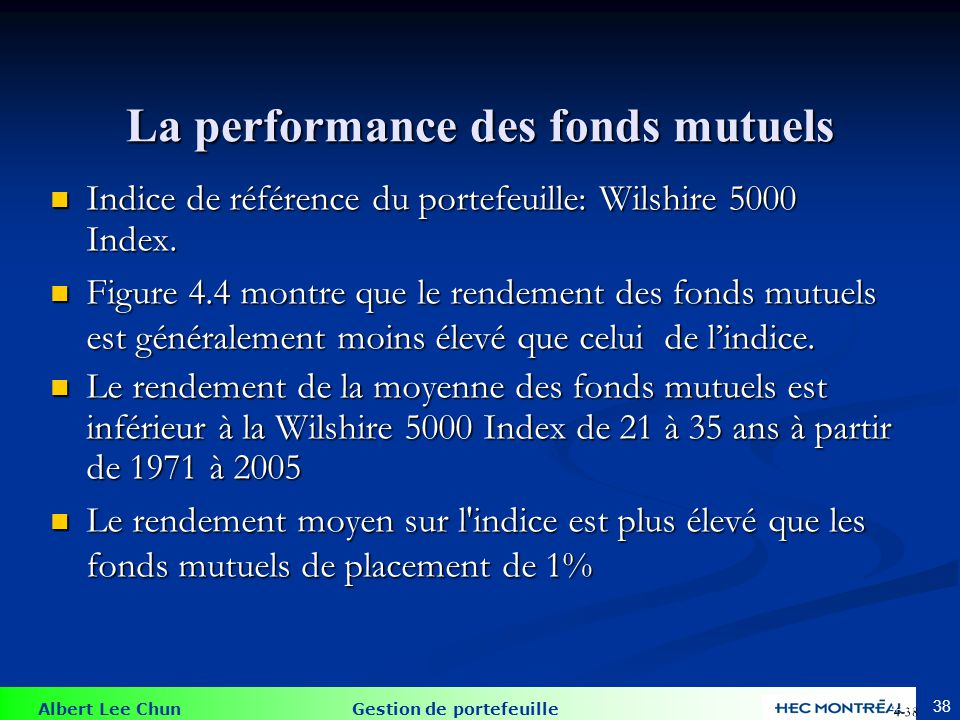 La performance contre l'index