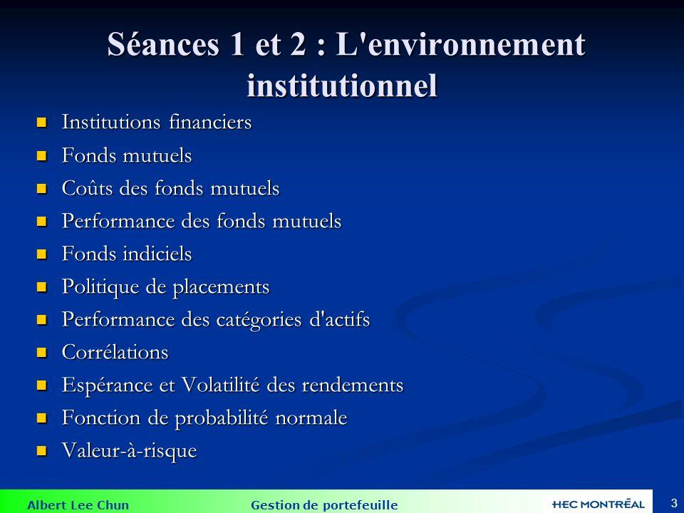 Séances 3, 4 et 5: Construction de portefeuilles