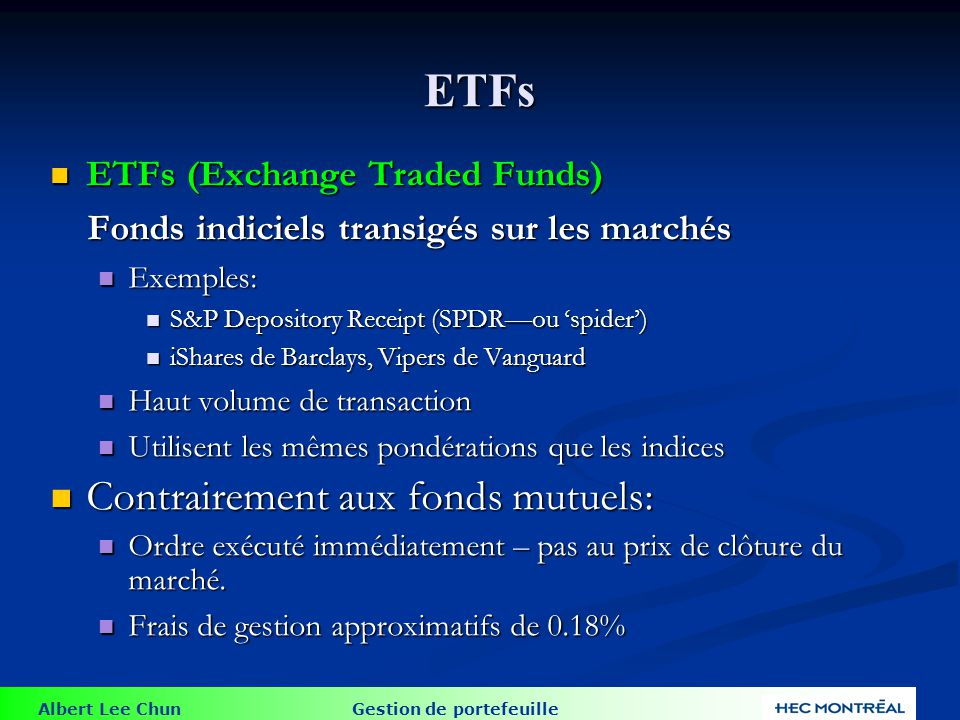 Fonds indiciels transigés sur les marchés