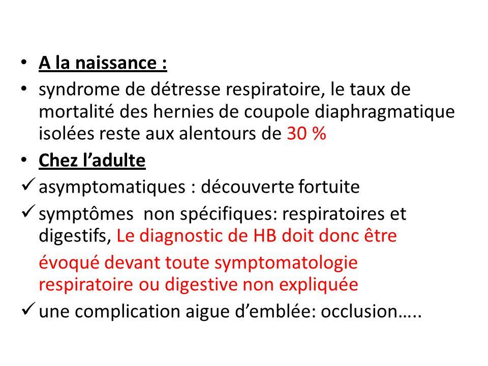 A la naissance : syndrome de détresse respiratoire, le taux de mortalité des hernies de coupole diaphragmatique isolées reste aux alentours de 30 %
