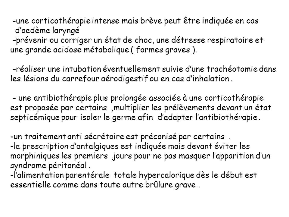 -une corticothérapie intense mais brève peut être indiquée en cas