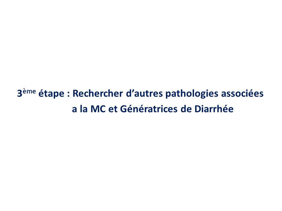 3ème étape : Rechercher d'autres pathologies associées a la MC et Génératrices de Diarrhée