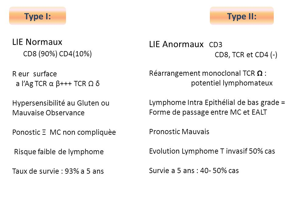 Type I: Type II: LIE Normaux CD8 (90%) CD4(10%) LIE Anormaux CD3