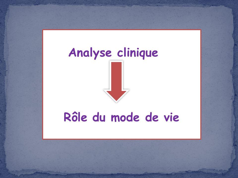 Analyse clinique Rôle du mode de vie