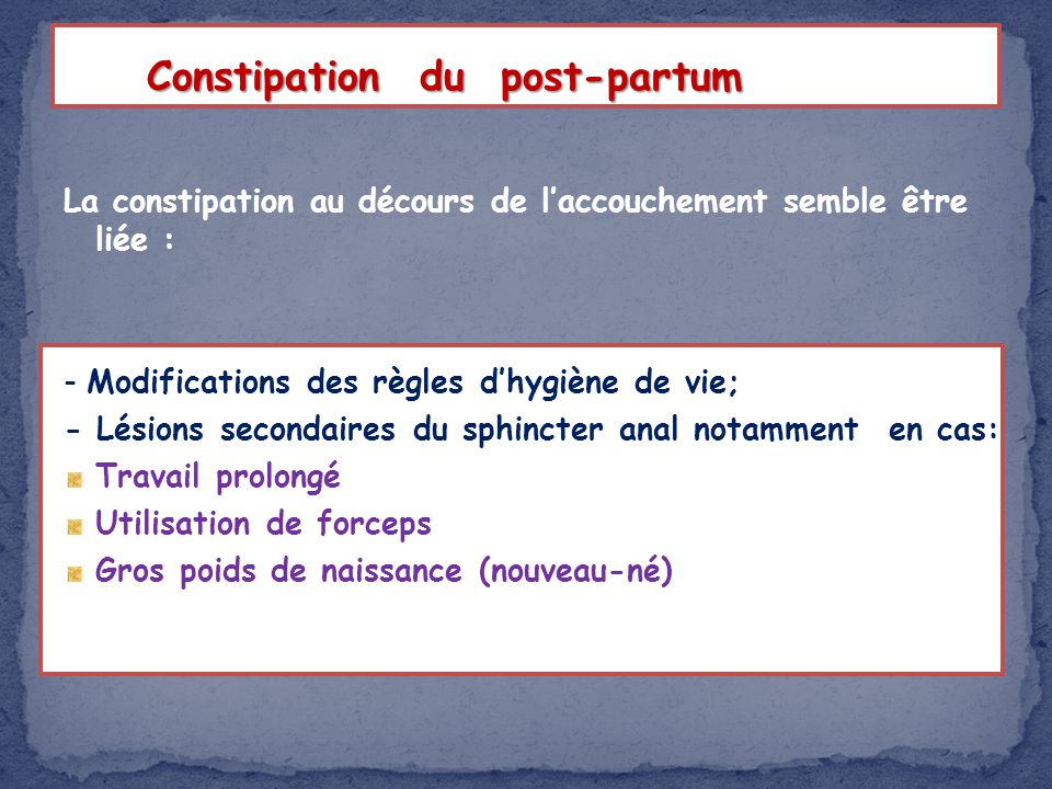 Constipation du post-partum