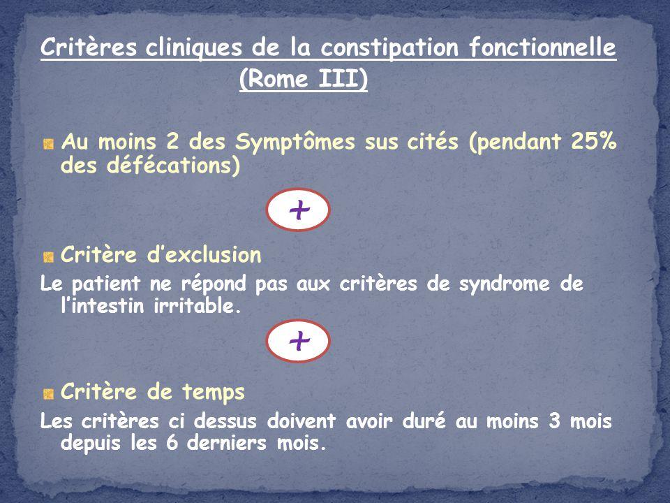 + + Critères cliniques de la constipation fonctionnelle (Rome III)
