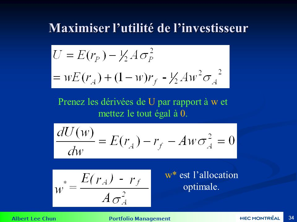 Exemple 1 Supposons E(rA) = 15%; (rA) = 22% et rf = 7%.