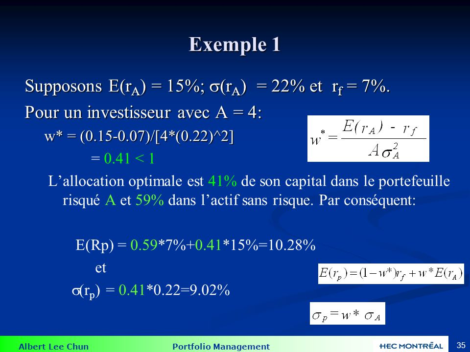 Exemple 2 Supposons E(rA) = 15%; (rA) = 22% et rf = 7%.