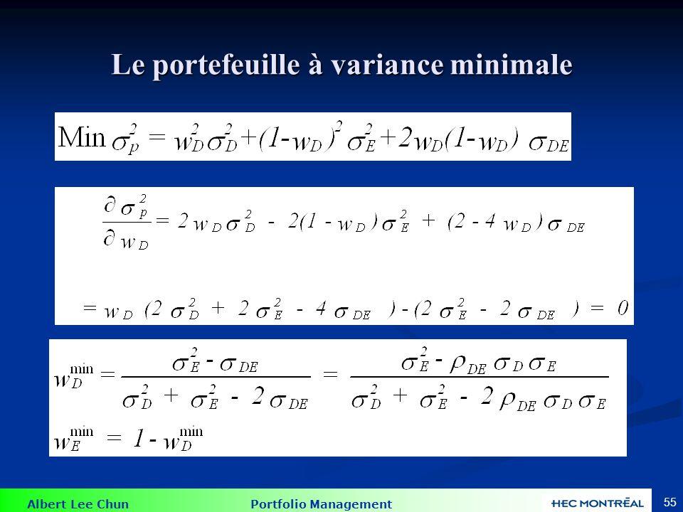 Le portefeuille à variance minimale (PVM)
