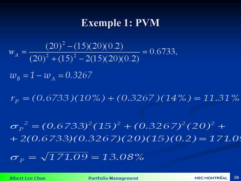 Exemple 2:  = .3 Supposons que notre univers d'investissement comprend deux titres de la Table 7.1: