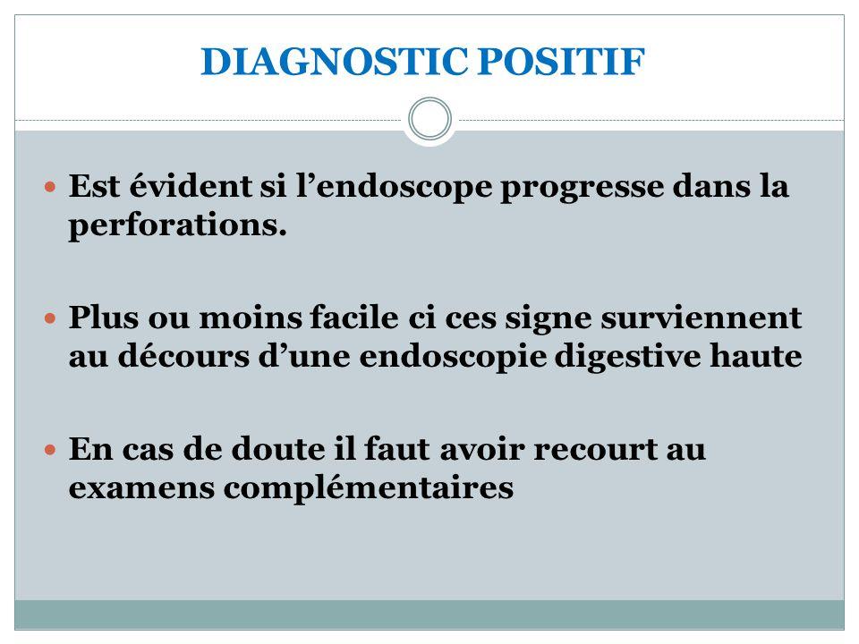 DIAGNOSTIC POSITIF Est évident si l'endoscope progresse dans la perforations.