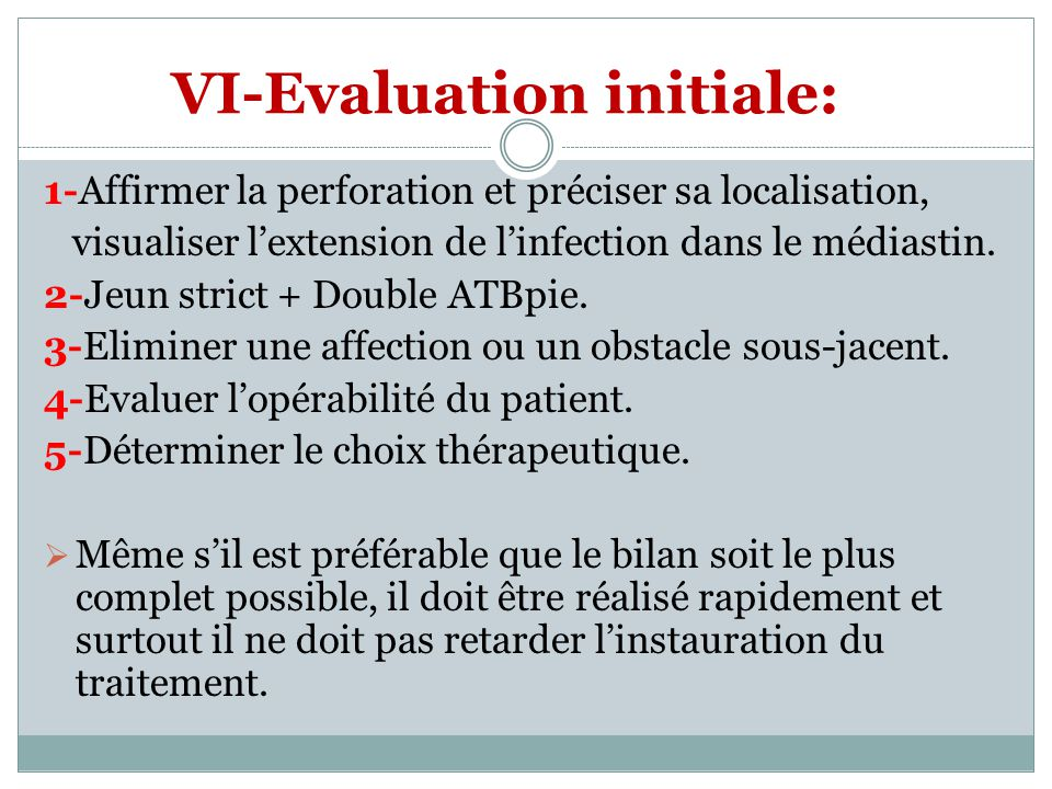 VI-Evaluation initiale: