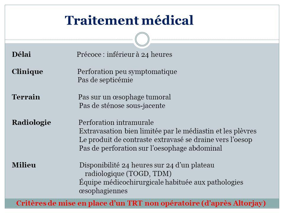 Traitement médical Délai Précoce : inférieur à 24 heures