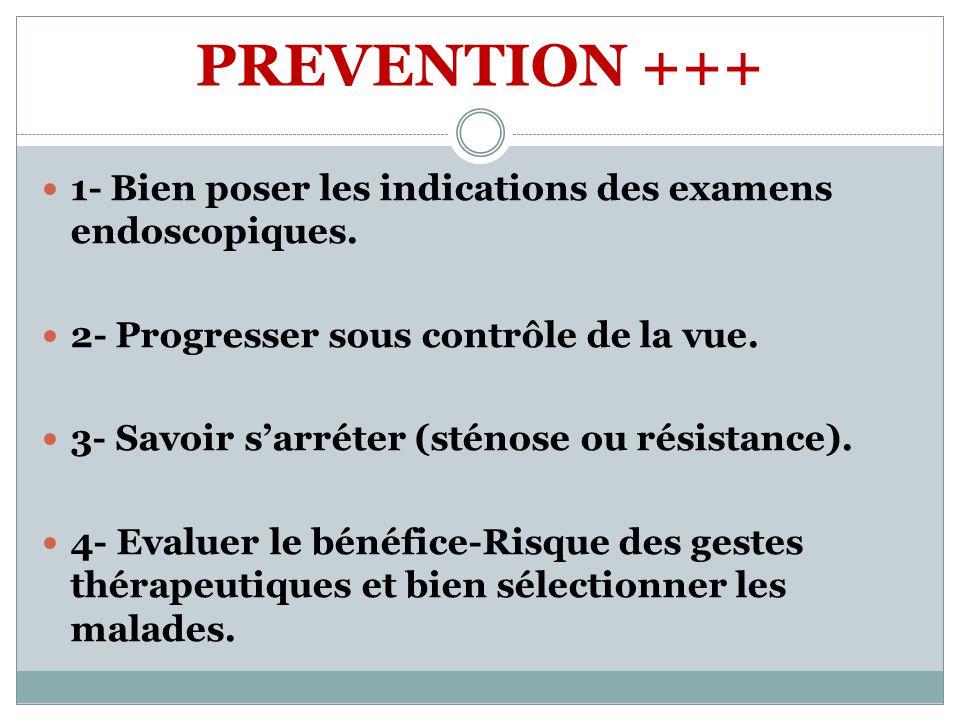 PREVENTION +++ 1- Bien poser les indications des examens endoscopiques. 2- Progresser sous contrôle de la vue.