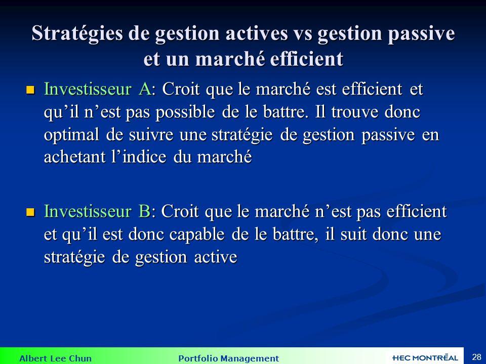 Stratégie de gestion passive et active: