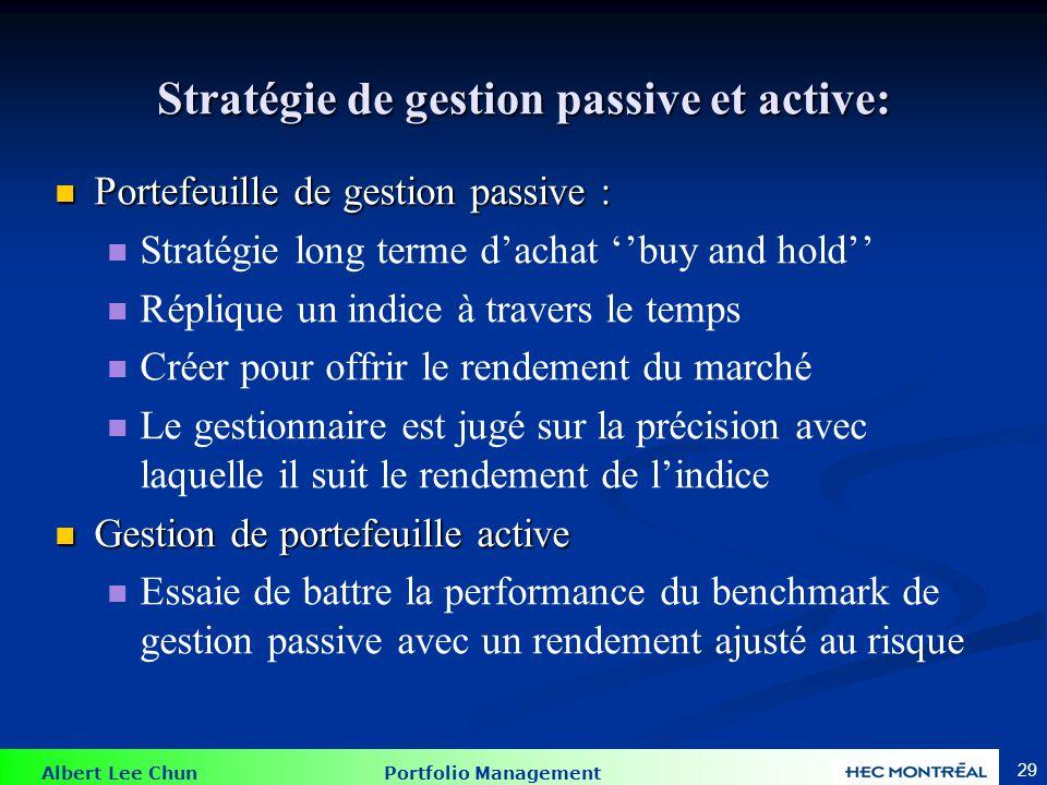 Gestion passive 1. Buy and Hold: créer un portefeuille basé sur certains critères et le détenir pour une période prédéterminée.