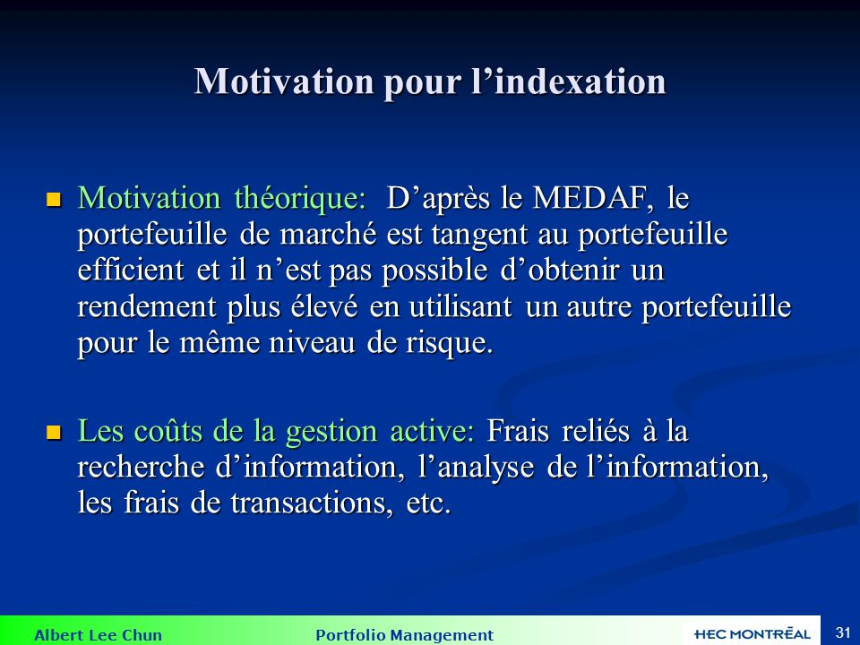 Motivation pour l'indexation