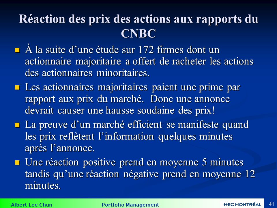 Réaction des prix des actions aux rapports du CNBC