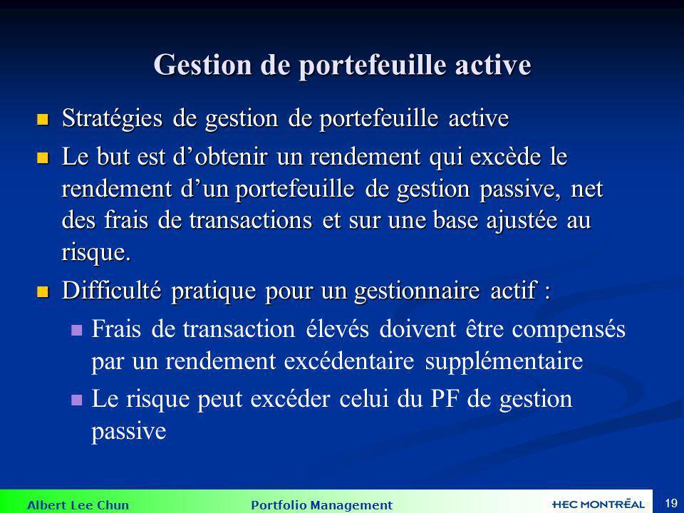 Gestion de portefeuille active
