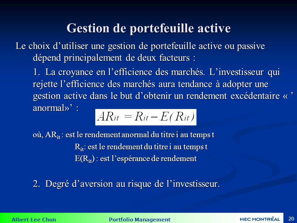 Performance des fonds mutuels gérés activement