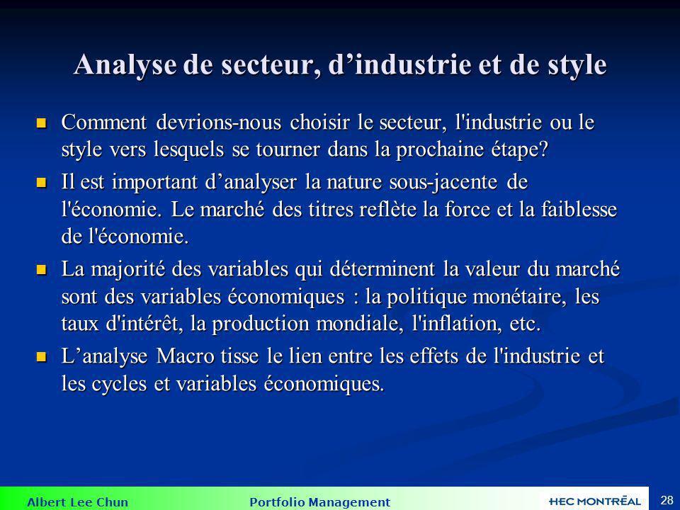 Performance d'actif et du type de secteur