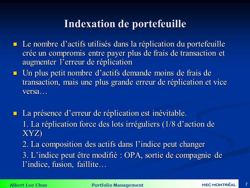 Technique de réplication d'un indice