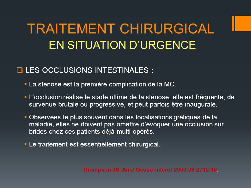 TRAITEMENT CHIRURGICAL EN SITUATION D'URGENCE